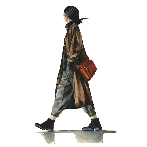 Junge frau im stilvollen trendigen outfit Premium Vektoren