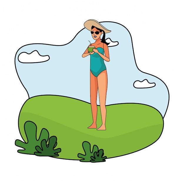 Junge frau in der badeanzugkarikatur Kostenlosen Vektoren