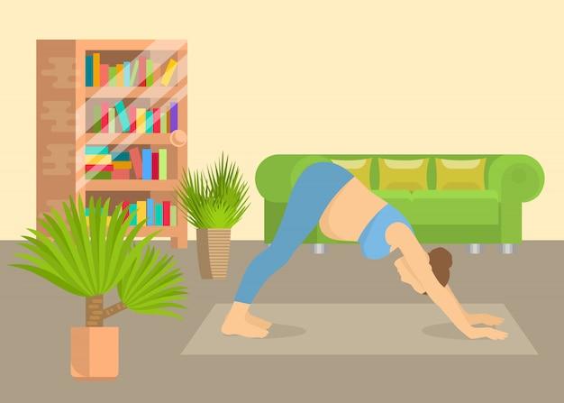 Junge frau in der innenvektorillustration des wohnzimmers der yogalage zu hause. mädchen, das aerobicübung und morgenmeditation durchführt. körperliche und geistige yoga-praxis. Premium Vektoren