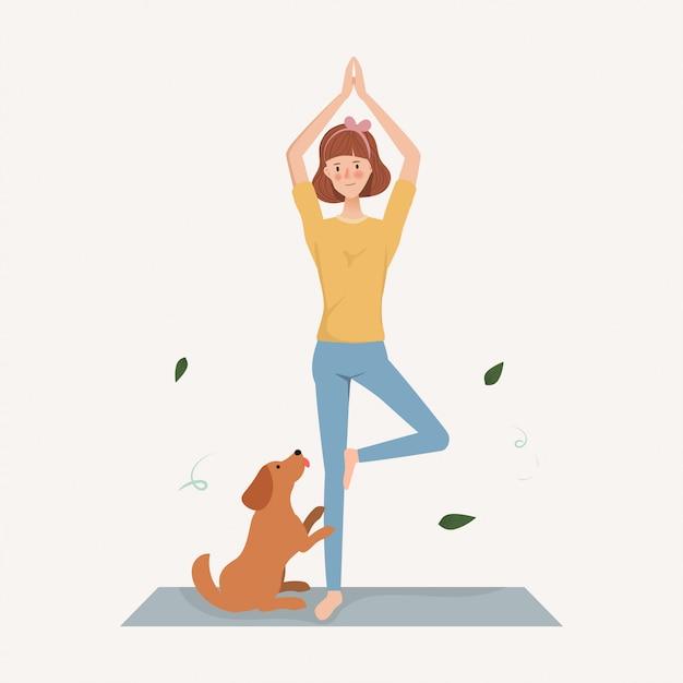 Junge frau machen yoga-übungen mit einem hund im urlaub. handgezeichnete charakter lebensstil. Premium Vektoren