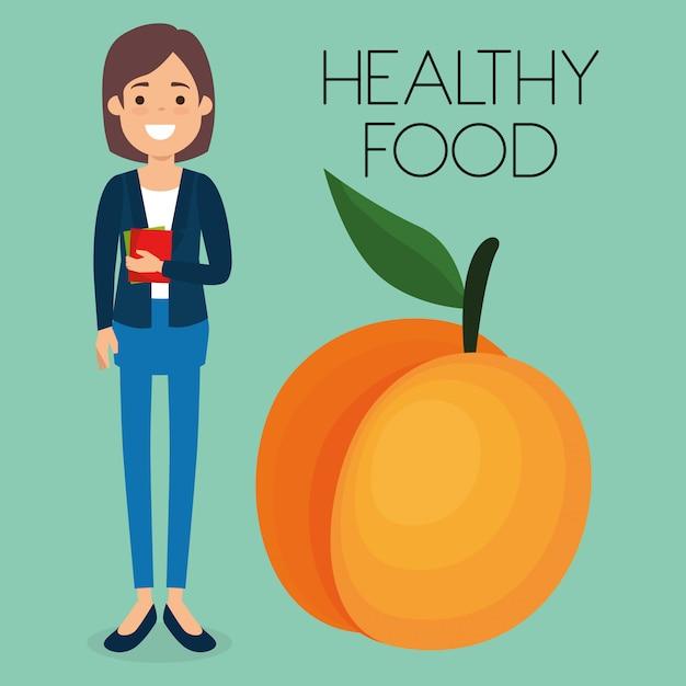 Junge frau mit gesundem lebensmittel des pfirsiches Premium Vektoren