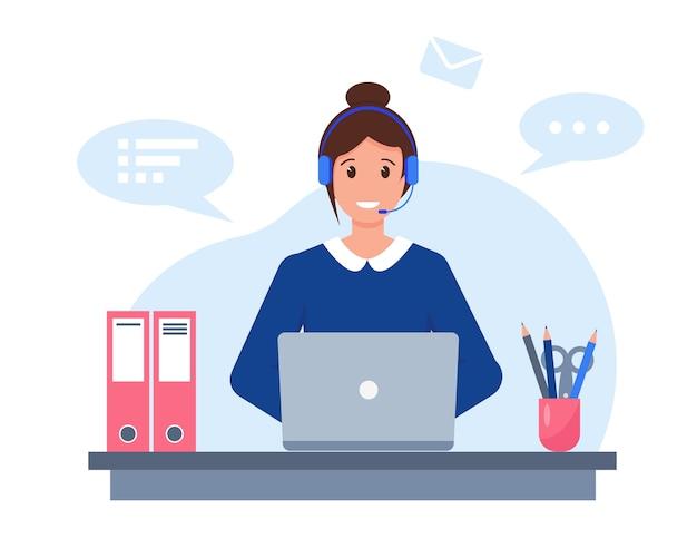 Junge frau mit kopfhörern, mikrofon und laptop, die im kundendienst-, unterstützungs- oder call-center-konzept arbeiten. Premium Vektoren