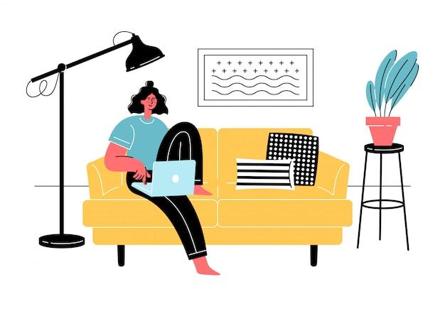 Junge frau sitzt mit laptop auf bequemem sofa. freiberufliche online-bildung, social-media-konzept. quarantäne, selbstisolation. Premium Vektoren