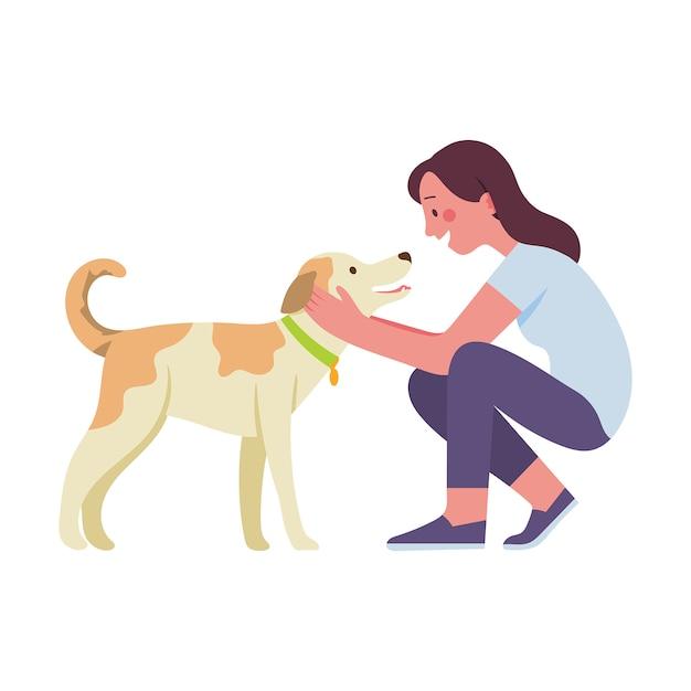Junge frau streichelte ihren geliebten hund Premium Vektoren