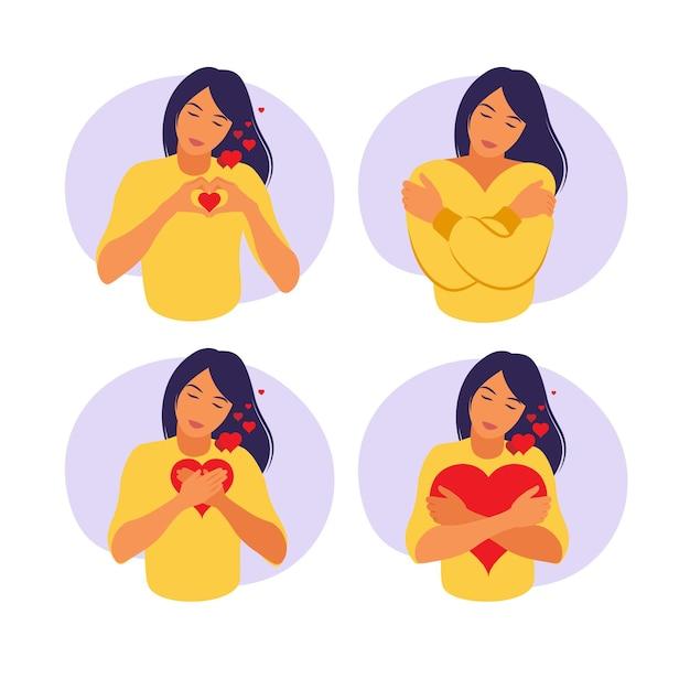 Junge frau umarmt ein großes herz mit liebe und fürsorge. selbstpflege und körperpositives konzept. Premium Vektoren