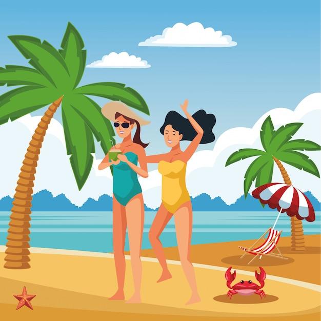 Junge frauen in sommerkarikaturen Kostenlosen Vektoren