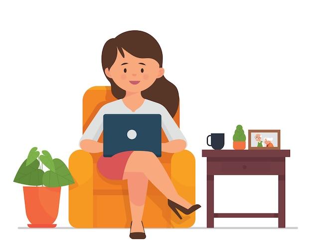Junge frauen sitzen und arbeiten mit laptops zu hause Premium Vektoren