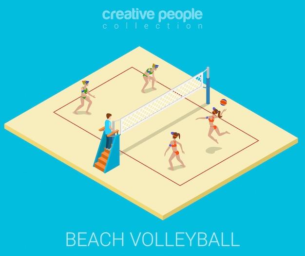 Junge frauen spielen flache isometrische illustration des strandvolleyballs. Kostenlosen Vektoren
