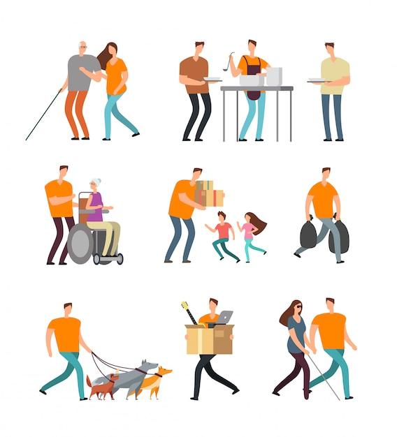 Junge freiwillige helfen behinderten und alten menschen. freiwilliges gehen mit dem hund, babysitten und unterstützung. vektorzeichen eingestellt Premium Vektoren