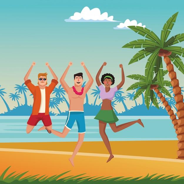 Junge freunde und sommercartoons Kostenlosen Vektoren