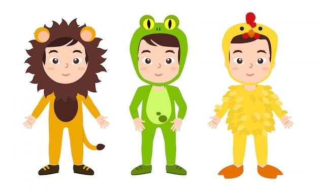 Junge frühlingsbräuche, leon, frosch und hühnchen kostüm Premium Vektoren