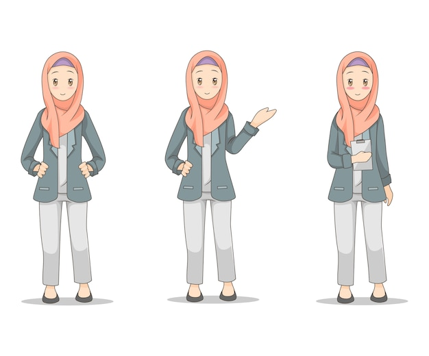 Junge geschäftsfrau, die hijab schleier trägt Premium Vektoren