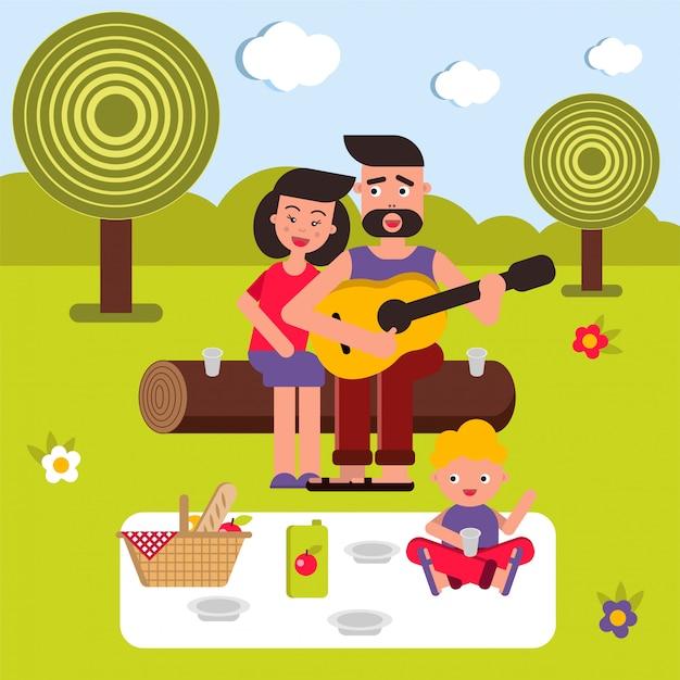 Junge glückliche familie auf einer picknickhintergrundillustration Premium Vektoren