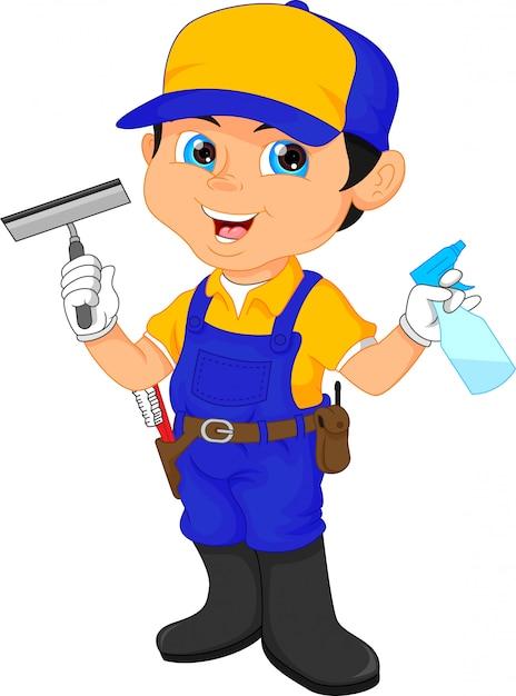 Junge hausmeister in einem blauen anzug, der reinigungswerkzeuge hält Premium Vektoren