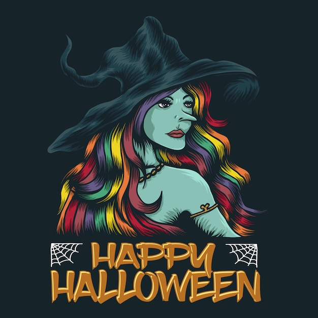 Junge hexe fröhliches halloween Premium Vektoren