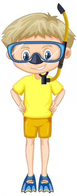 Junge im gelben hemd mit schnorchel und flossen Kostenlosen Vektoren