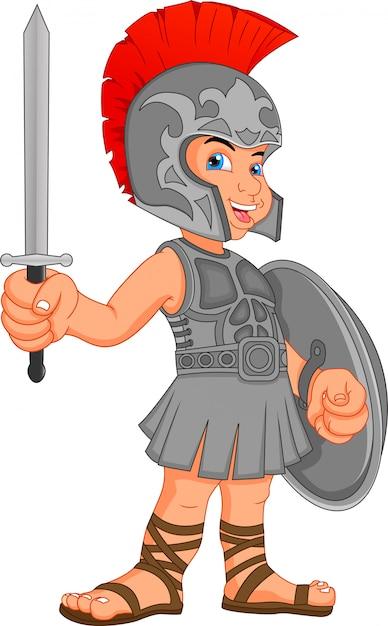 Junge im kostüm eines römischen soldaten Premium Vektoren