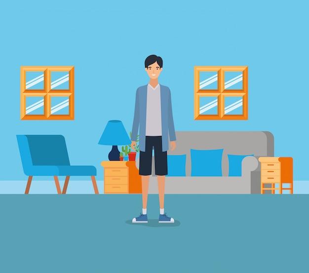 Junge im wohnzimmer Kostenlosen Vektoren