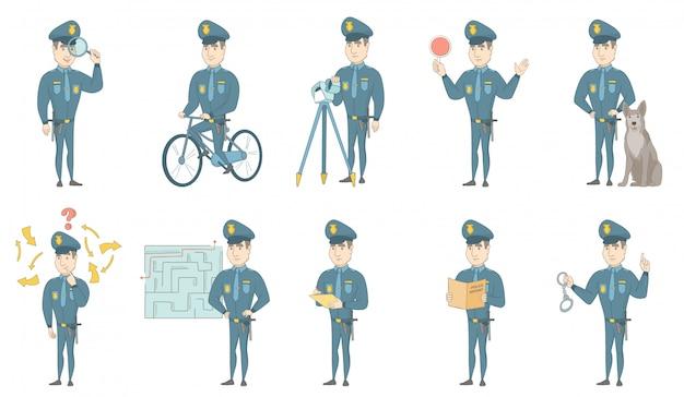 Junge kaukasische polizistvektorillustrationen eingestellt Premium Vektoren