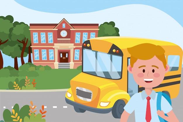 Junge kind und busschule Kostenlosen Vektoren