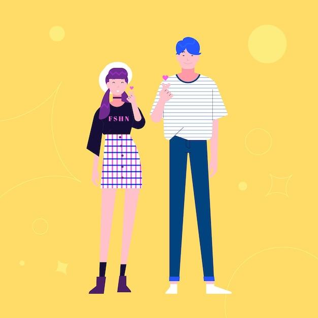 Junge koreaner, die fingerherz tun Kostenlosen Vektoren