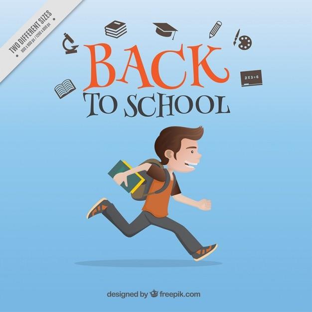 Junge läuft in die schule zu gehen, hintergrund Kostenlosen Vektoren