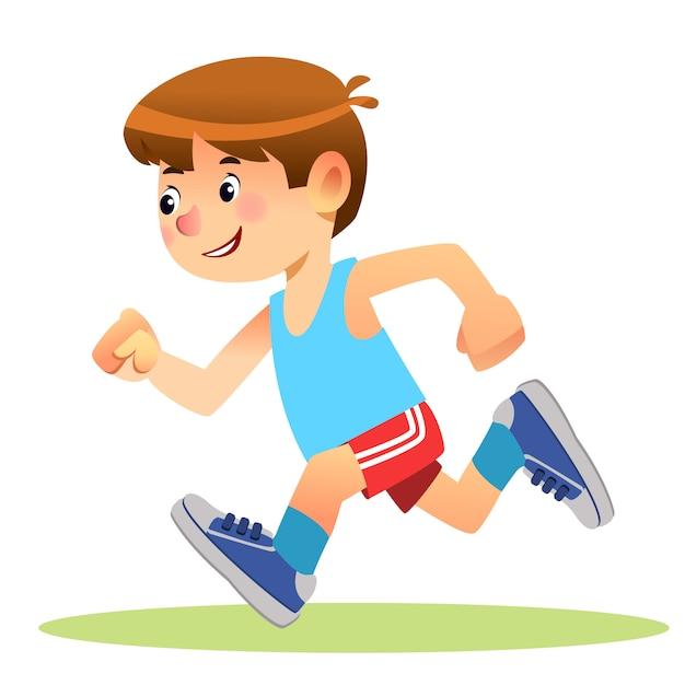 Junge läuft in sportbekleidung Premium Vektoren