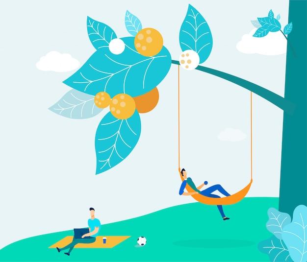 Junge leute auf picknick in der park-illustration Premium Vektoren