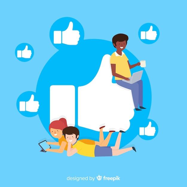Junge leute auf social media-hintergrund Kostenlosen Vektoren
