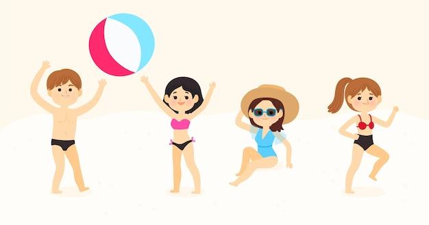 Junge leute, die aktivitäten am strand machen Kostenlosen Vektoren