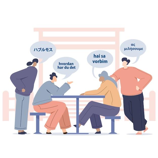 Junge leute, die fremdsprachen mit chatblasen sprechen Kostenlosen Vektoren