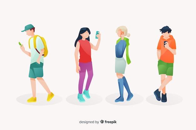 Junge leute, die ihre dargestellten smartphones betrachten Kostenlosen Vektoren