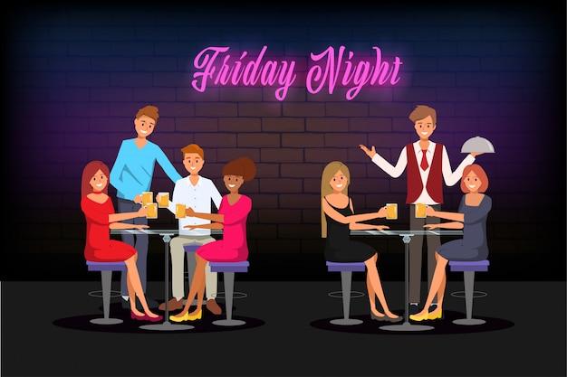 Junge leute, die im nachtclub-barcafé sich treffen und genießen, um zu feiern. Premium Vektoren
