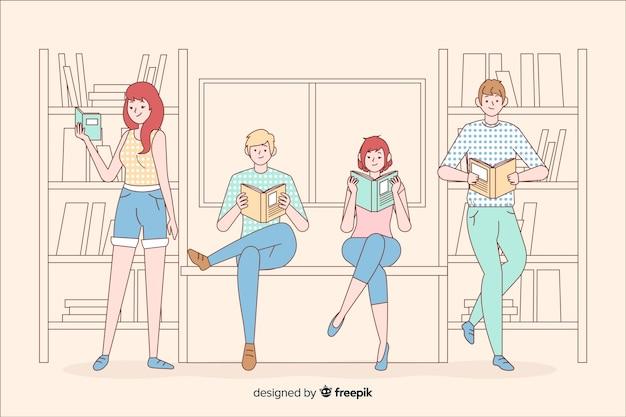 Junge leute, die in der koreanischen zeichnungsart lesen Kostenlosen Vektoren