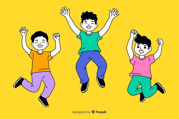 Junge leute, die in koreanische zeichnungsart springen Kostenlosen Vektoren