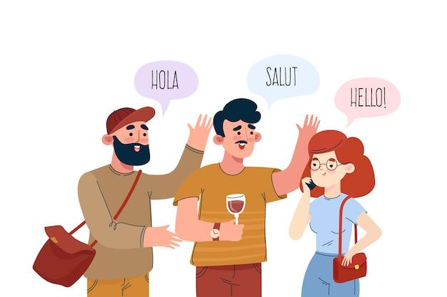 Junge leute, die in verschiedenen sprachen sprechen Kostenlosen Vektoren