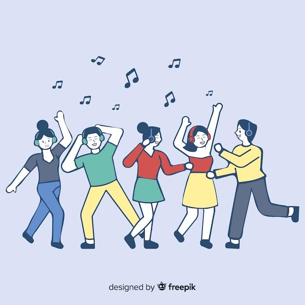 Junge leute, die musik in der koreanischen zeichnungsart hören Kostenlosen Vektoren