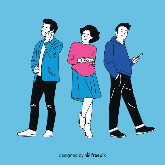 Junge leute, die smartphones in der koreanischen zeichnungsart halten Kostenlosen Vektoren