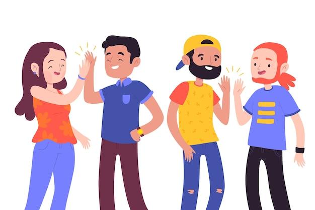 Junge leute geben high five Kostenlosen Vektoren