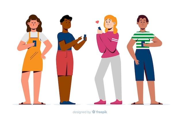 Junge leute halten ihre smartphones Kostenlosen Vektoren