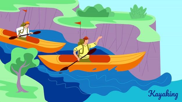Junge leute in den kajaks rudern down river an sunny day Premium Vektoren
