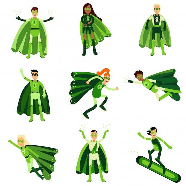 Junge leute in grünen öko-superhelden-kostümen gesetzt von Premium Vektoren