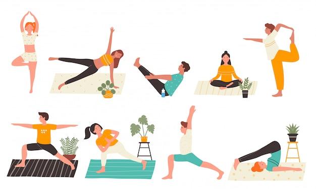 Junge leute in yoga-posen stellen flache illustration lokalisiert auf weißem hintergrund ein. yogi mann und frau trainieren zu hause und machen die wichtigsten yoga-übungen. personal trainer, trainingskurs, gesunder lebensstil Premium Vektoren