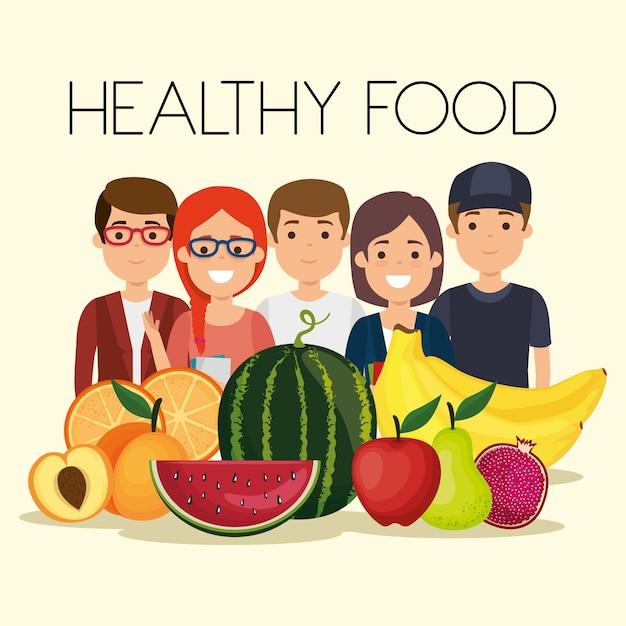 Junge leute mit gesunden lebensmitteln der früchte Premium Vektoren