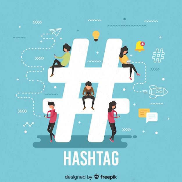 Junge leute mit hashtag-symbol Kostenlosen Vektoren