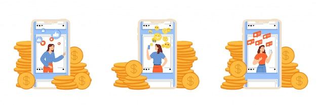 Junge mädchen bewerben persönliche seiten und verdienen geld mit dem bloggen. Premium Vektoren