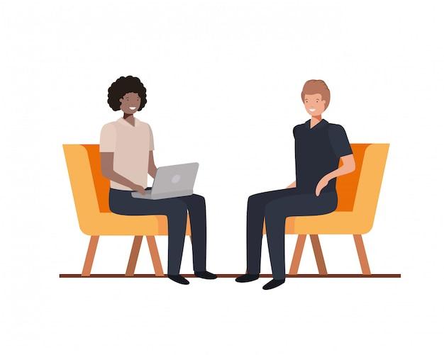 Junge männer sitzen im stuhl Premium Vektoren