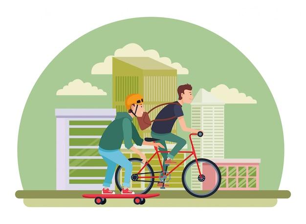 Junge männliche freunde mit fahrrad und skateboard Premium Vektoren
