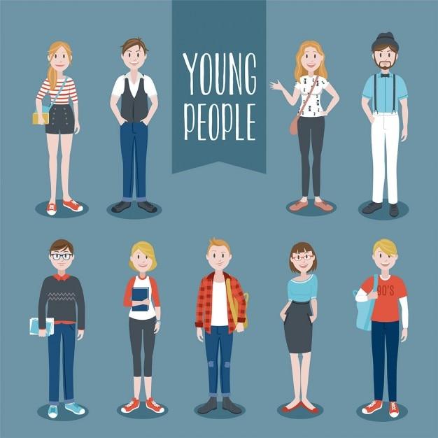 Junge Menschen Sammlung Kostenlose Vektoren