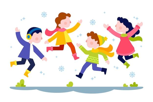 Junge menschen tragen winterkleidung springen Kostenlosen Vektoren